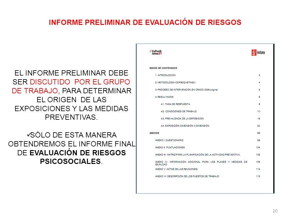 INFORME PRELIMINAR DE EVALUACIÓN DE RIESGOS