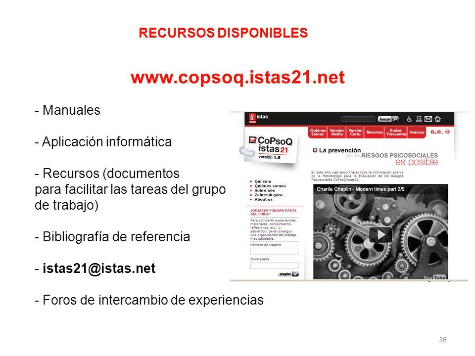 www.copsoq.istas21.net RECURSOS DISPONIBLES Manuales