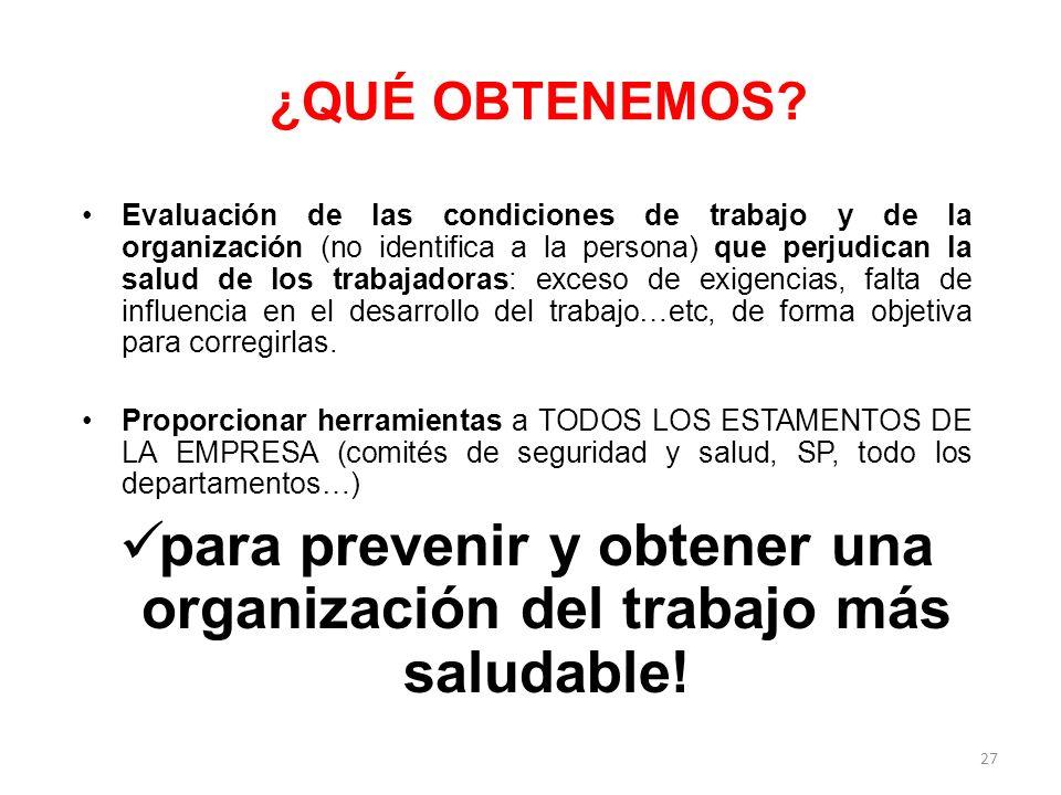 para prevenir y obtener una organización del trabajo más saludable!