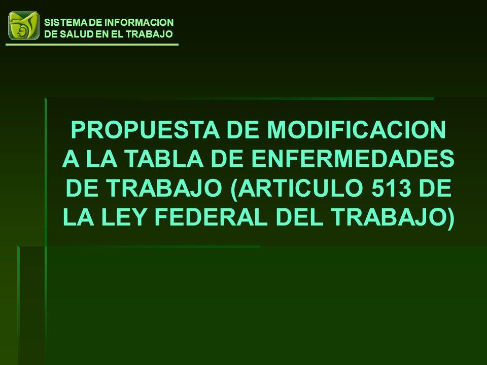 PROPUESTA DE MODIFICACION A LA TABLA DE ENFERMEDADES DE TRABAJO (ARTICULO 513 DE LA LEY FEDERAL DEL TRABAJO)
