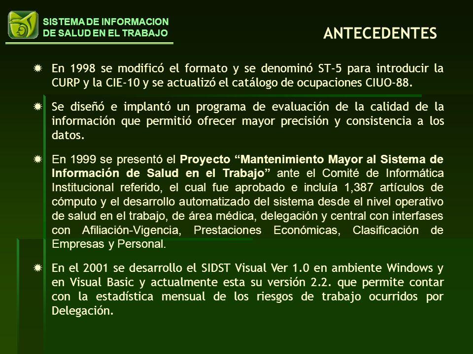 ANTECEDENTES En 1998 se modificó el formato y se denominó ST-5 para introducir la CURP y la CIE-10 y se actualizó el catálogo de ocupaciones CIUO-88.