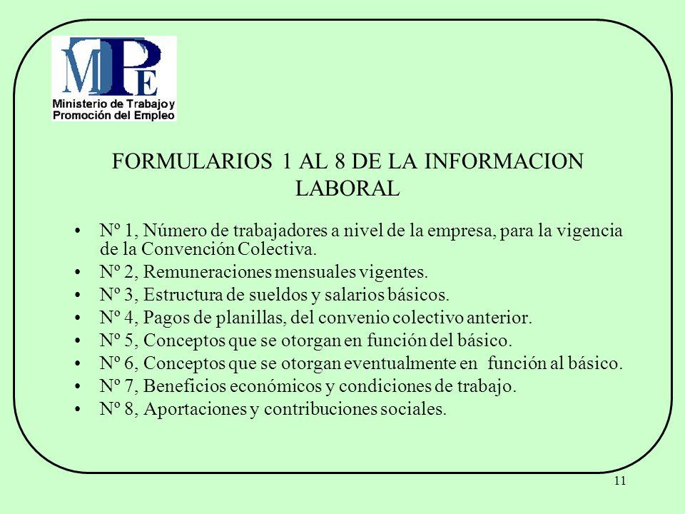 FORMULARIOS 1 AL 8 DE LA INFORMACION LABORAL