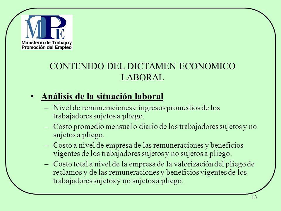 CONTENIDO DEL DICTAMEN ECONOMICO LABORAL