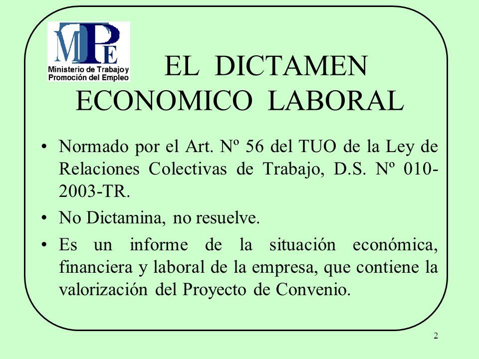 EL DICTAMEN ECONOMICO LABORAL