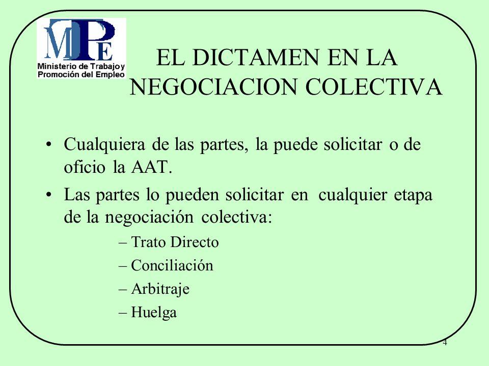 EL DICTAMEN EN LA NEGOCIACION COLECTIVA