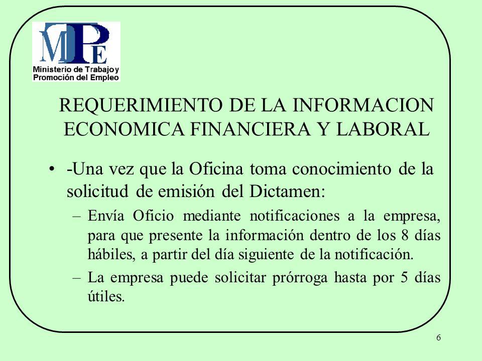 REQUERIMIENTO DE LA INFORMACION ECONOMICA FINANCIERA Y LABORAL