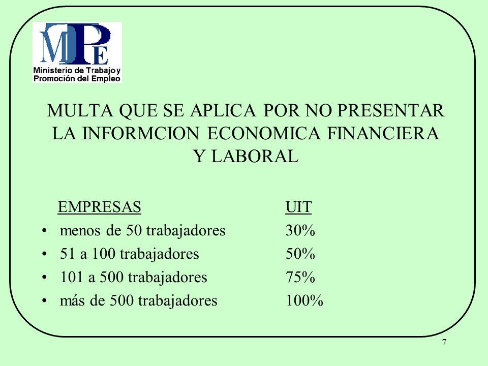 MULTA QUE SE APLICA POR NO PRESENTAR LA INFORMCION ECONOMICA FINANCIERA Y LABORAL
