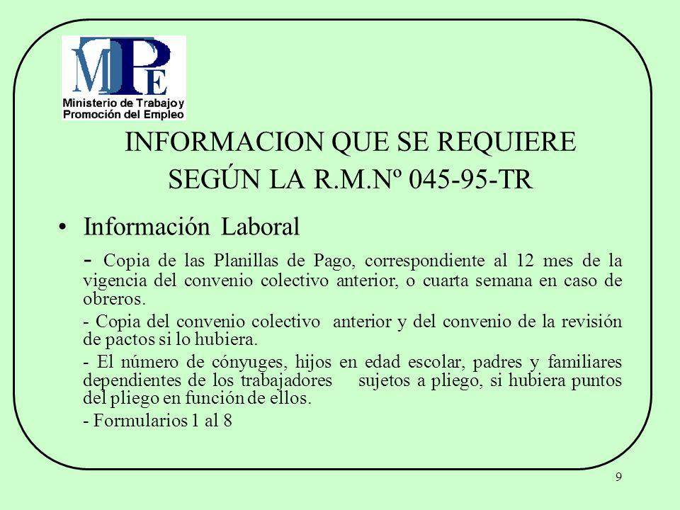 INFORMACION QUE SE REQUIERE SEGÚN LA R.M.Nº 045-95-TR