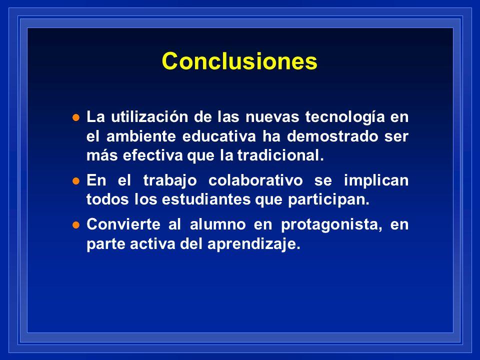 Conclusiones La utilización de las nuevas tecnología en el ambiente educativa ha demostrado ser más efectiva que la tradicional.