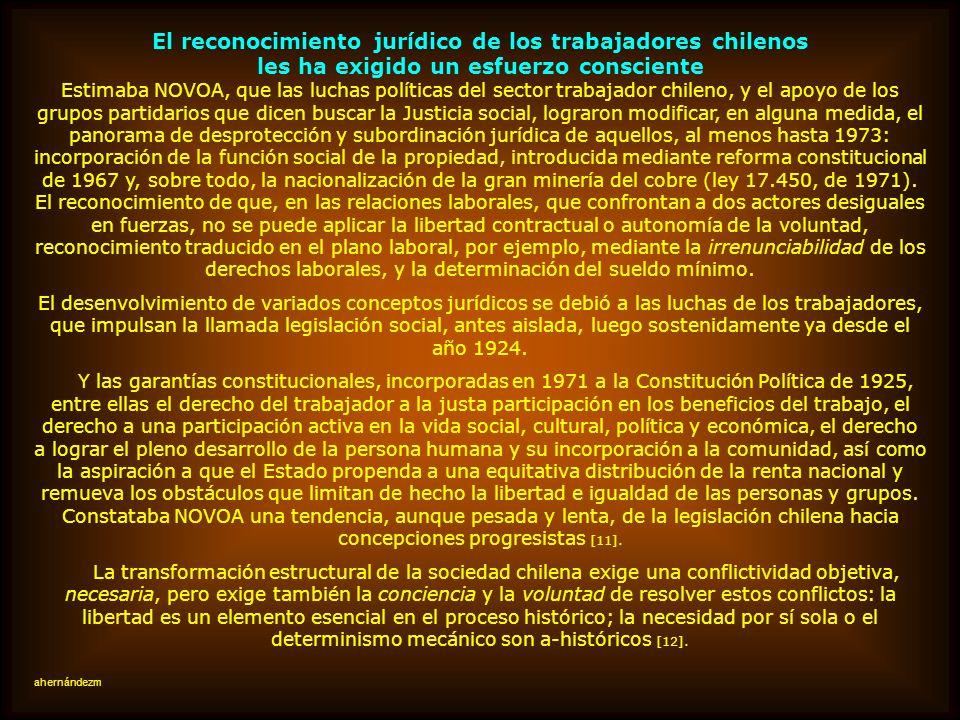 El reconocimiento jurídico de los trabajadores chilenos