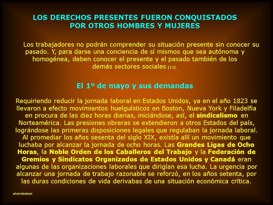LOS DERECHOS PRESENTES FUERON CONQUISTADOS POR OTROS HOMBRES Y MUJERES