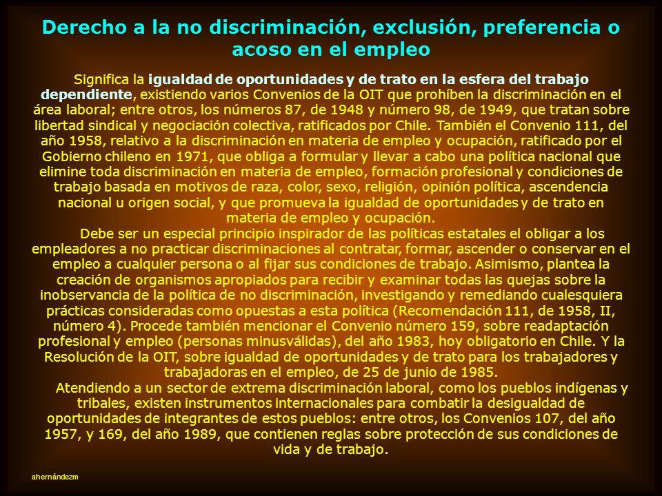 Derecho a la no discriminación, exclusión, preferencia o acoso en el empleo