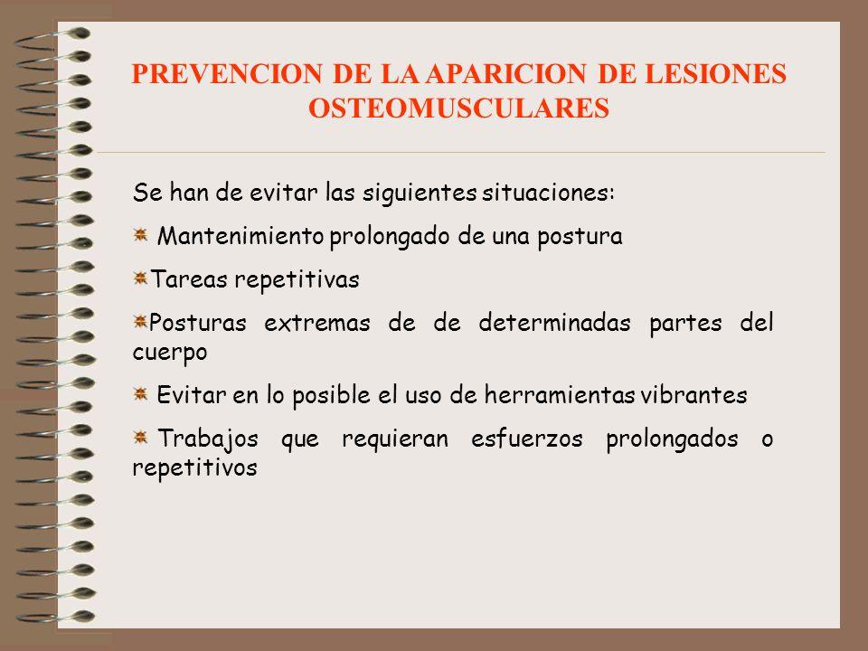 PREVENCION DE LA APARICION DE LESIONES OSTEOMUSCULARES