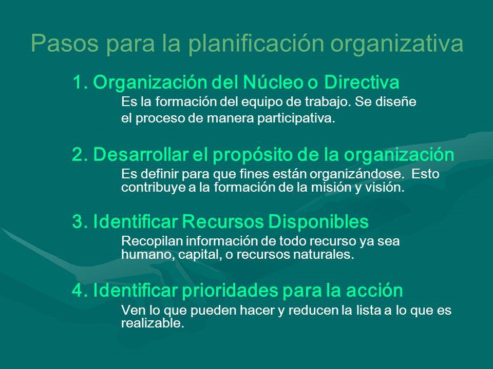 Pasos para la planificación organizativa