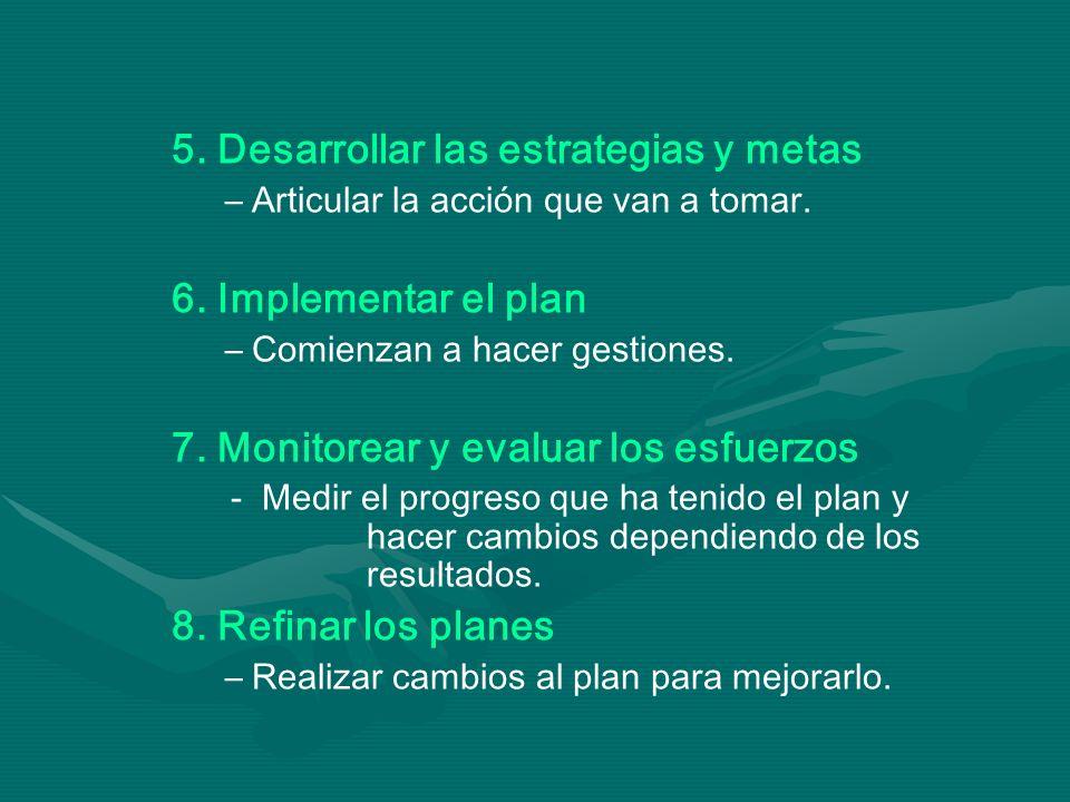 5. Desarrollar las estrategias y metas