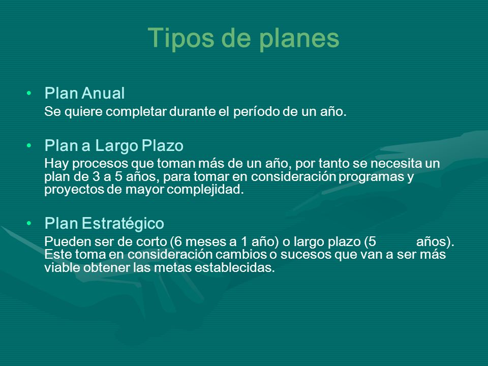 Tipos de planes Plan Anual Plan a Largo Plazo Plan Estratégico