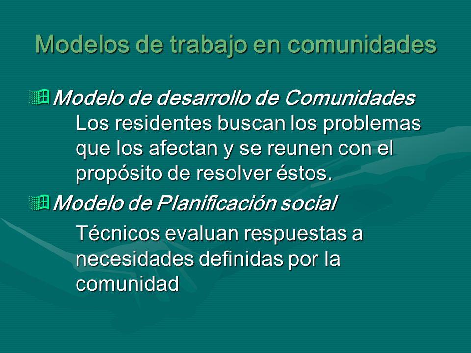 Modelos de trabajo en comunidades