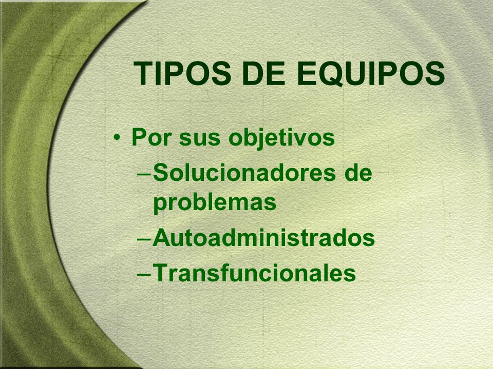 TIPOS DE EQUIPOS Por sus objetivos Solucionadores de problemas