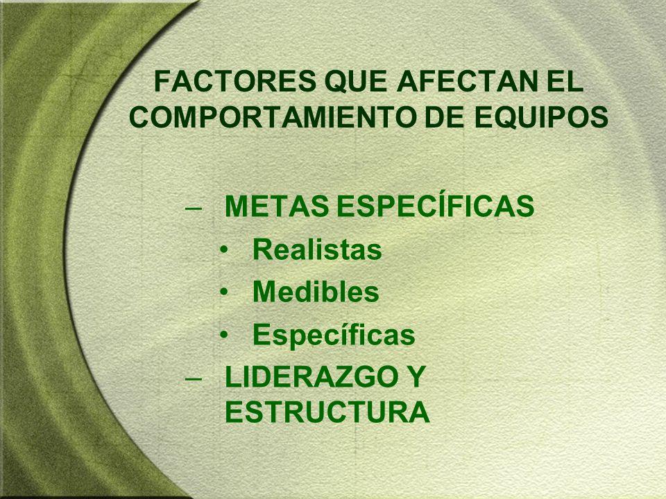FACTORES QUE AFECTAN EL COMPORTAMIENTO DE EQUIPOS