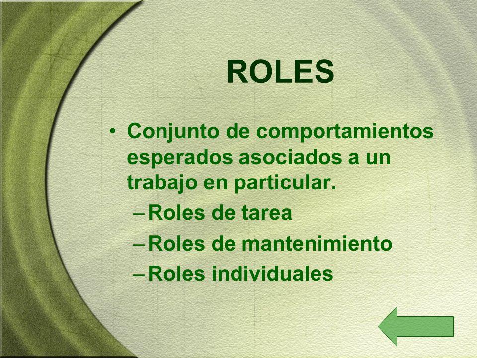 ROLES Conjunto de comportamientos esperados asociados a un trabajo en particular. Roles de tarea. Roles de mantenimiento.
