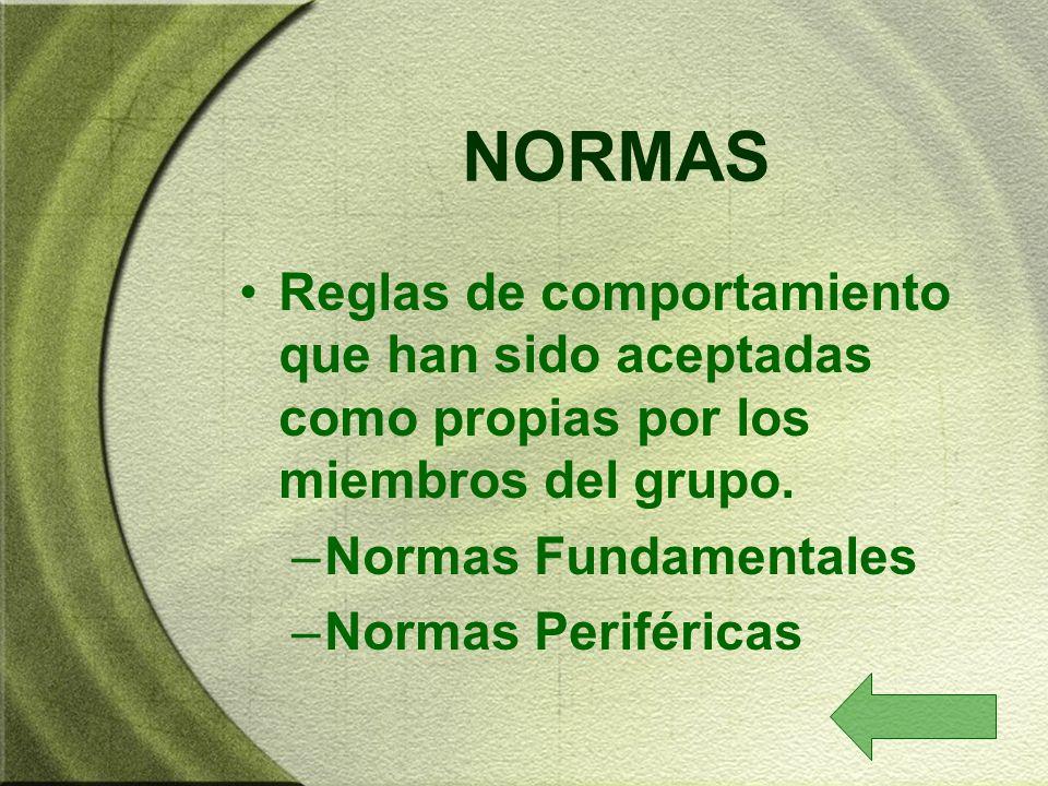 NORMAS Reglas de comportamiento que han sido aceptadas como propias por los miembros del grupo. Normas Fundamentales.