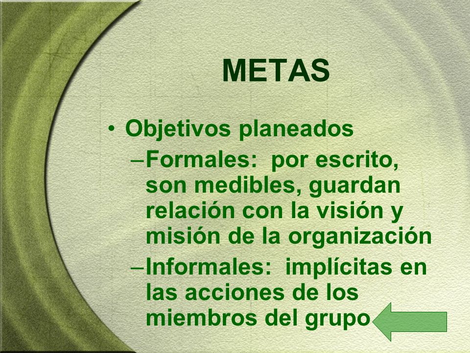 METAS Objetivos planeados