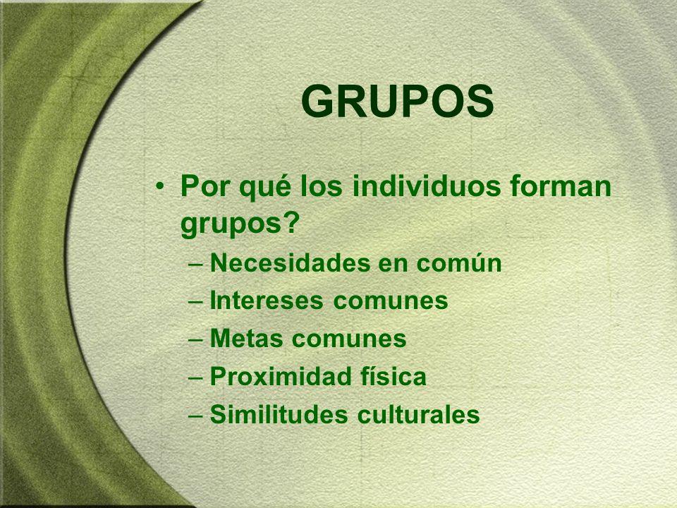 GRUPOS Por qué los individuos forman grupos Necesidades en común