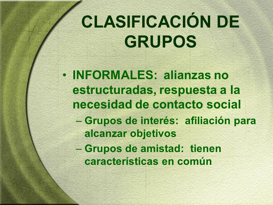 CLASIFICACIÓN DE GRUPOS