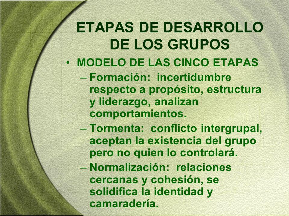 ETAPAS DE DESARROLLO DE LOS GRUPOS