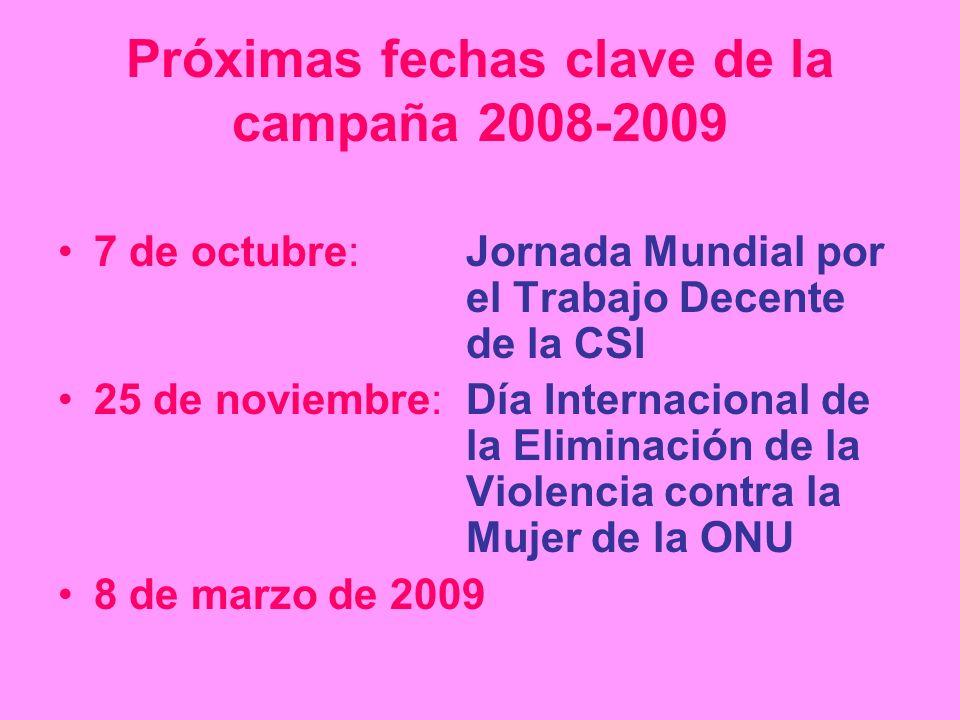 Próximas fechas clave de la campaña 2008-2009