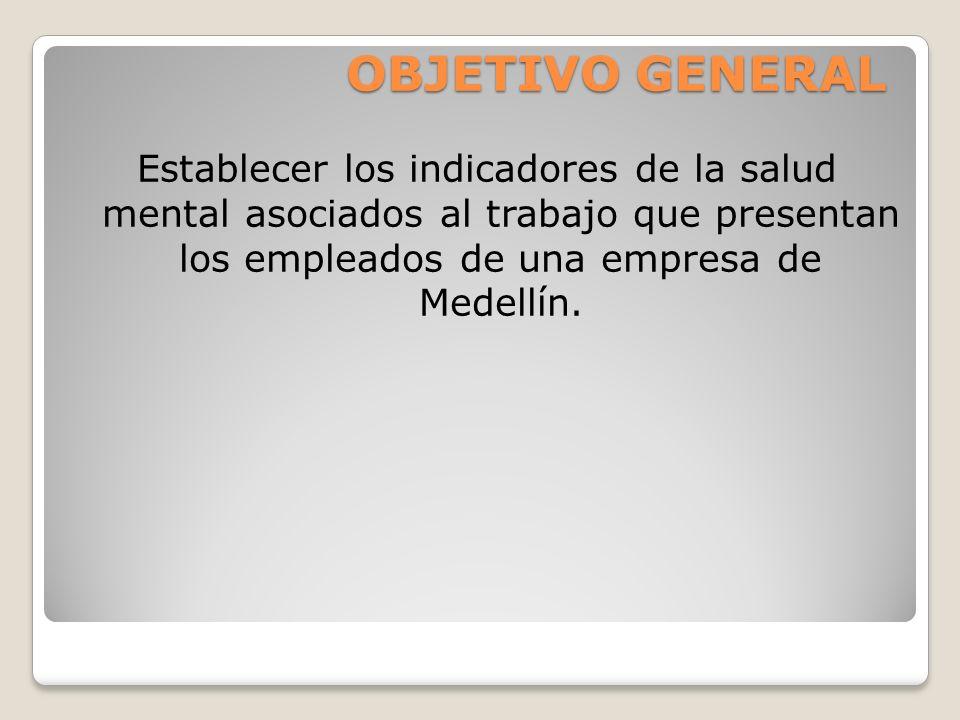 OBJETIVO GENERAL Establecer los indicadores de la salud mental asociados al trabajo que presentan los empleados de una empresa de Medellín.