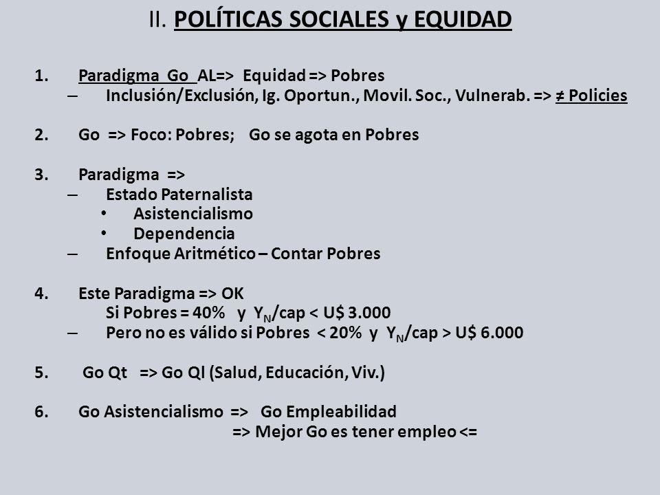 II. POLÍTICAS SOCIALES y EQUIDAD