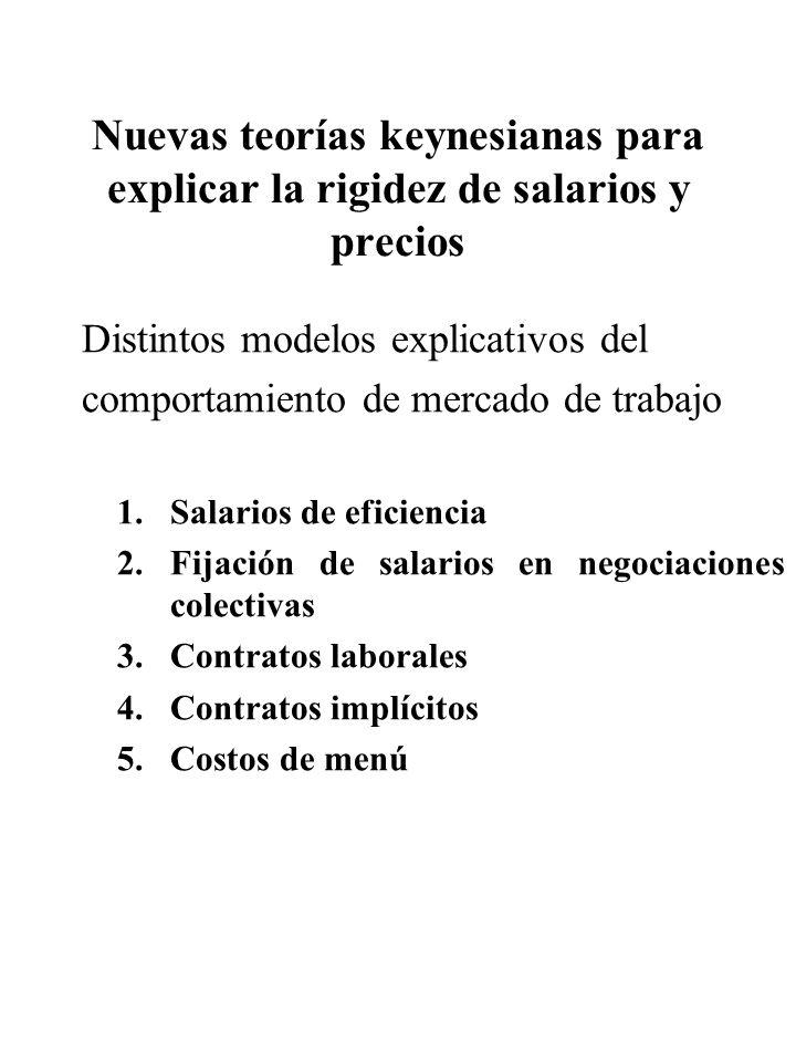 Nuevas teorías keynesianas para explicar la rigidez de salarios y precios