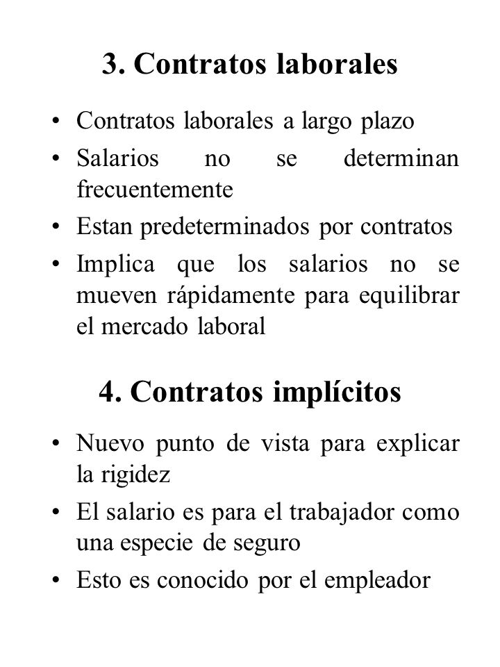 3. Contratos laborales 4. Contratos implícitos