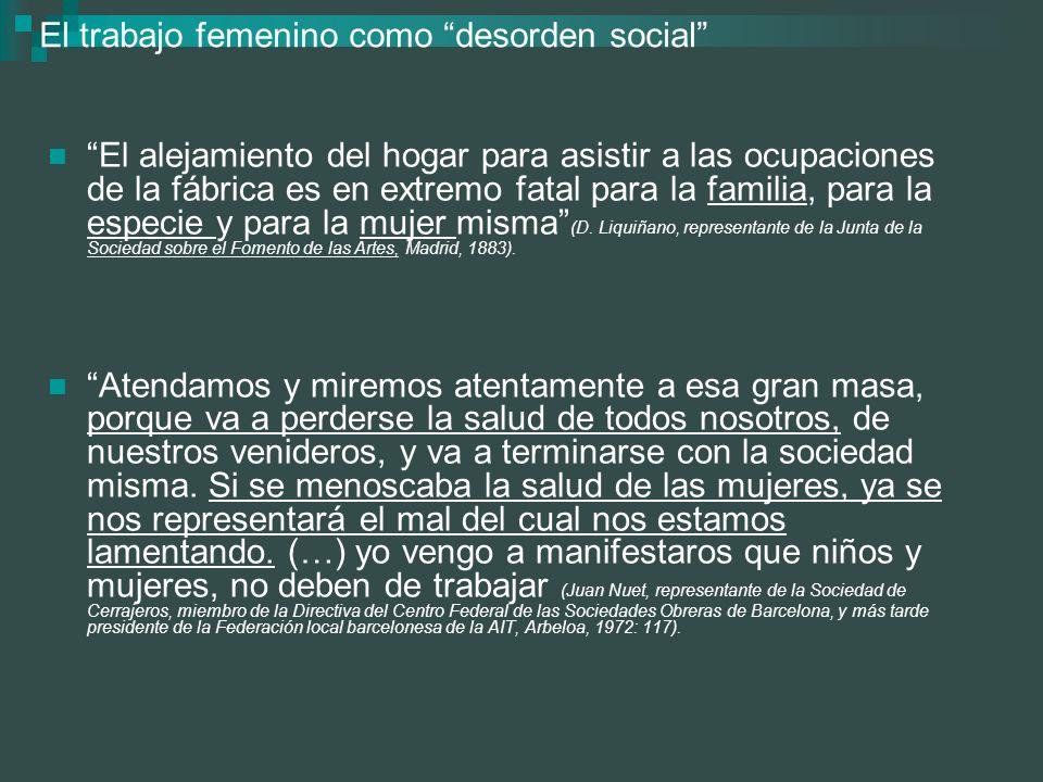 El trabajo femenino como desorden social