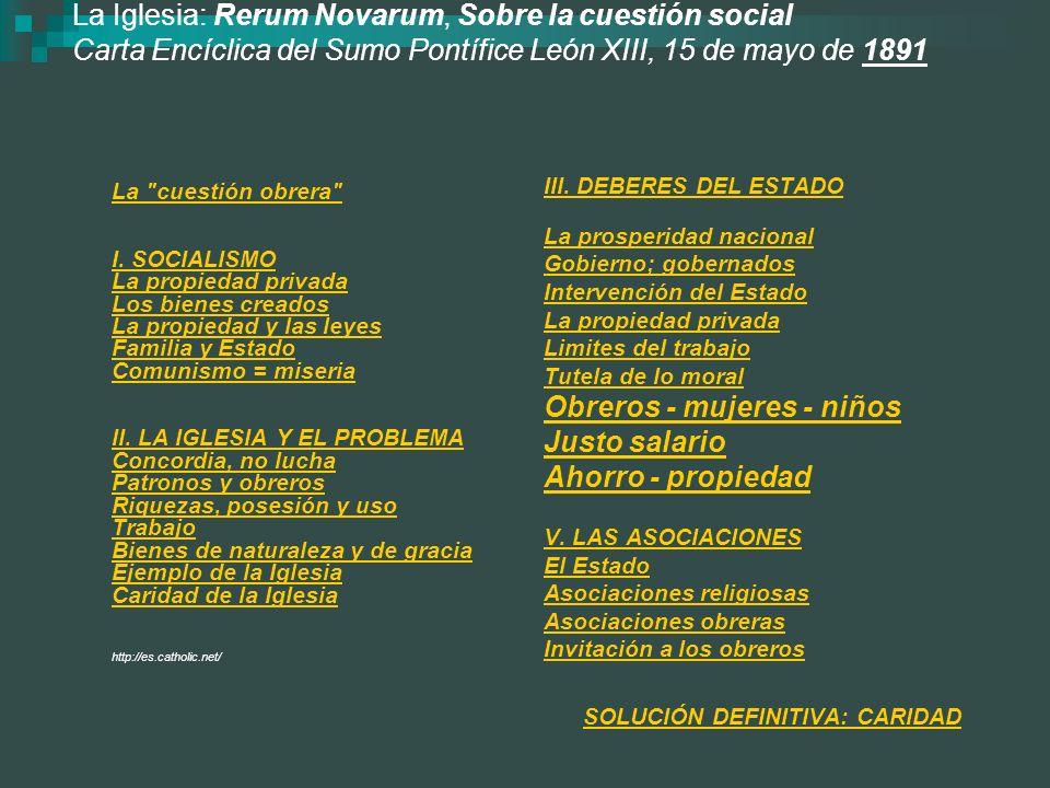 La Iglesia: Rerum Novarum, Sobre la cuestión social Carta Encíclica del Sumo Pontífice León XIII, 15 de mayo de 1891