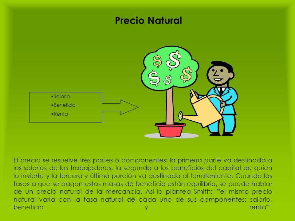 Precio Natural Salario. Beneficio. Renta.