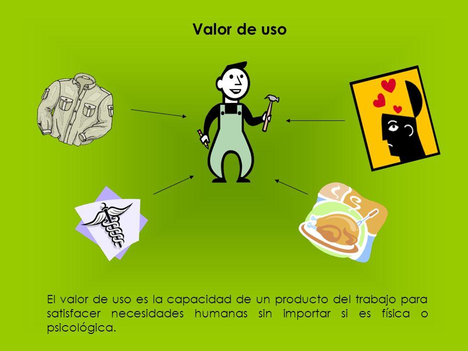 Valor de uso El valor de uso es la capacidad de un producto del trabajo para satisfacer necesidades humanas sin importar si es física o psicológica.