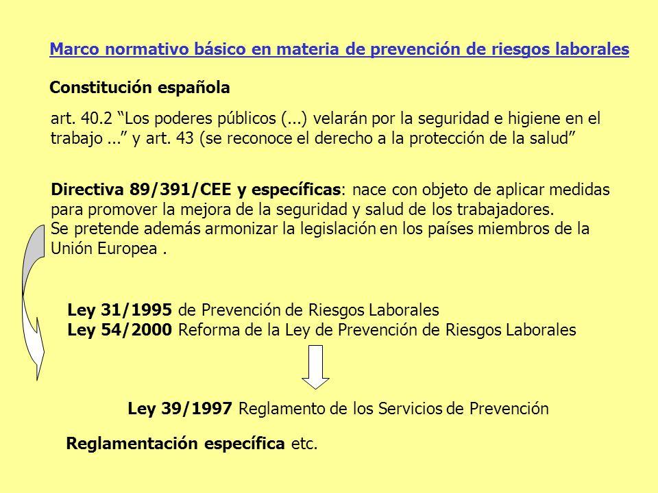 Marco normativo básico en materia de prevención de riesgos laborales