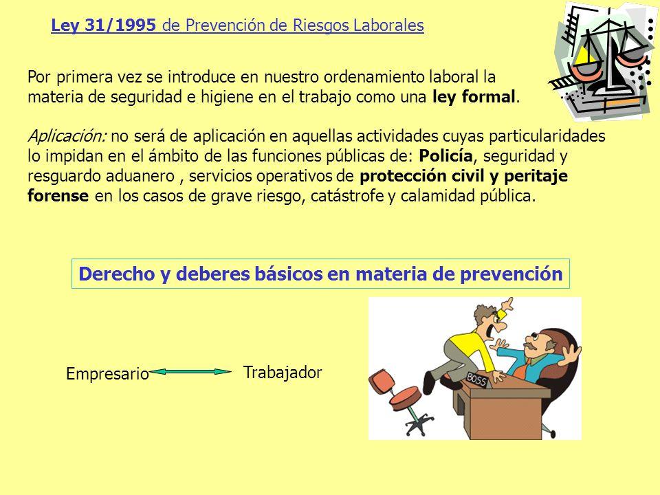 Derecho y deberes básicos en materia de prevención