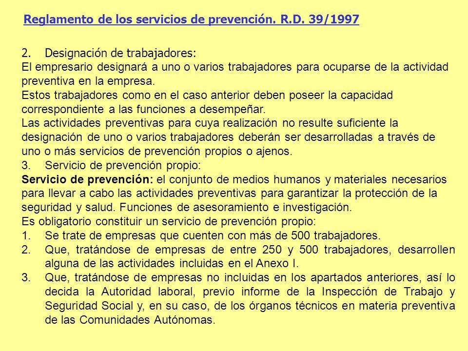 Reglamento de los servicios de prevención. R.D. 39/1997