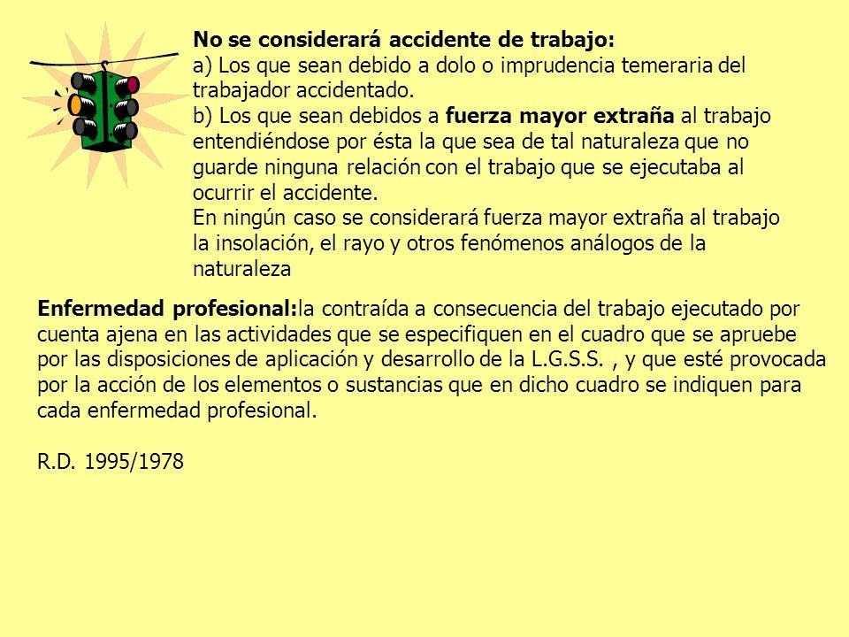 No se considerará accidente de trabajo: