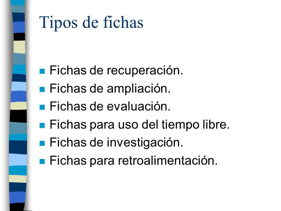 Tipos de fichas Fichas de recuperación. Fichas de ampliación.