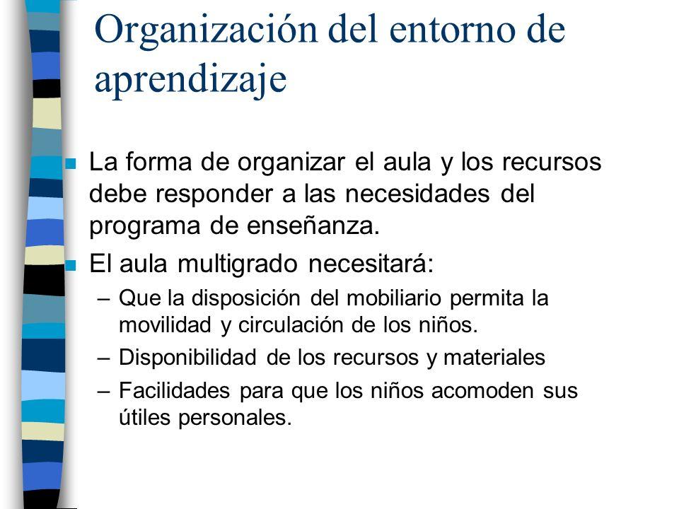 Organización del entorno de aprendizaje