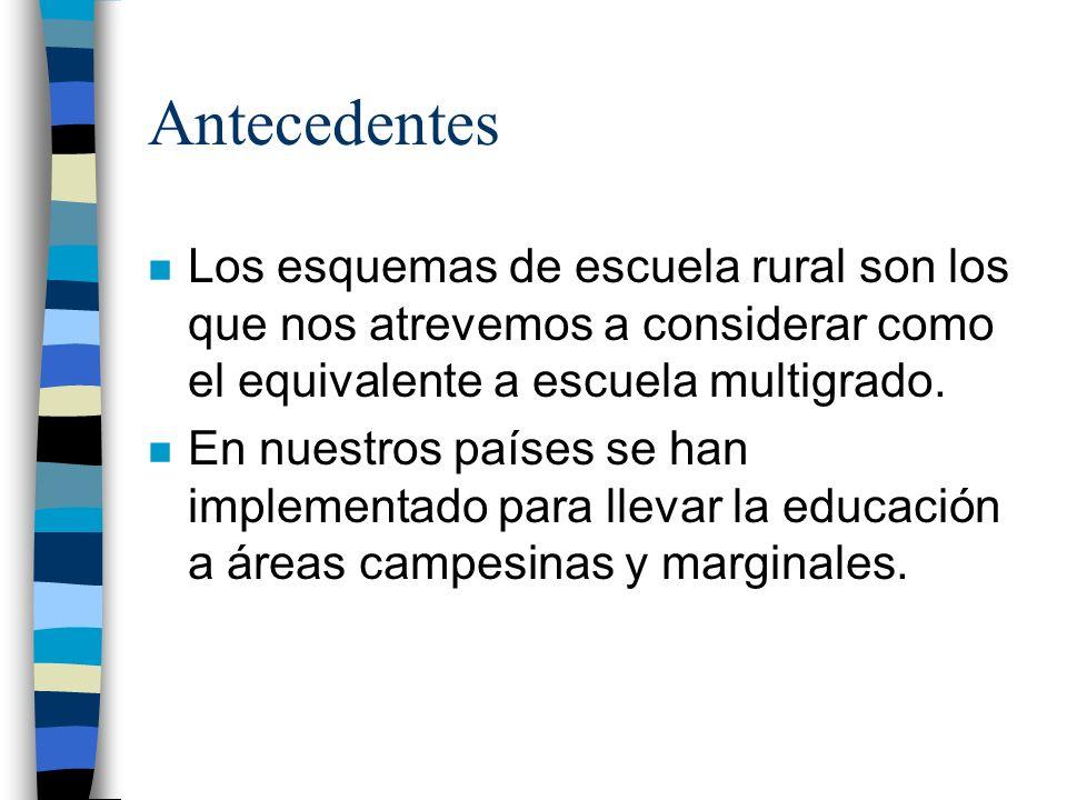 Antecedentes Los esquemas de escuela rural son los que nos atrevemos a considerar como el equivalente a escuela multigrado.