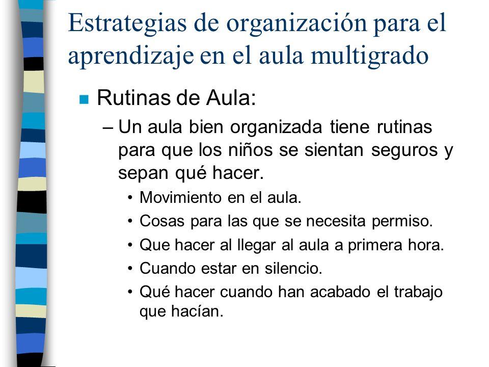 Estrategias de organización para el aprendizaje en el aula multigrado