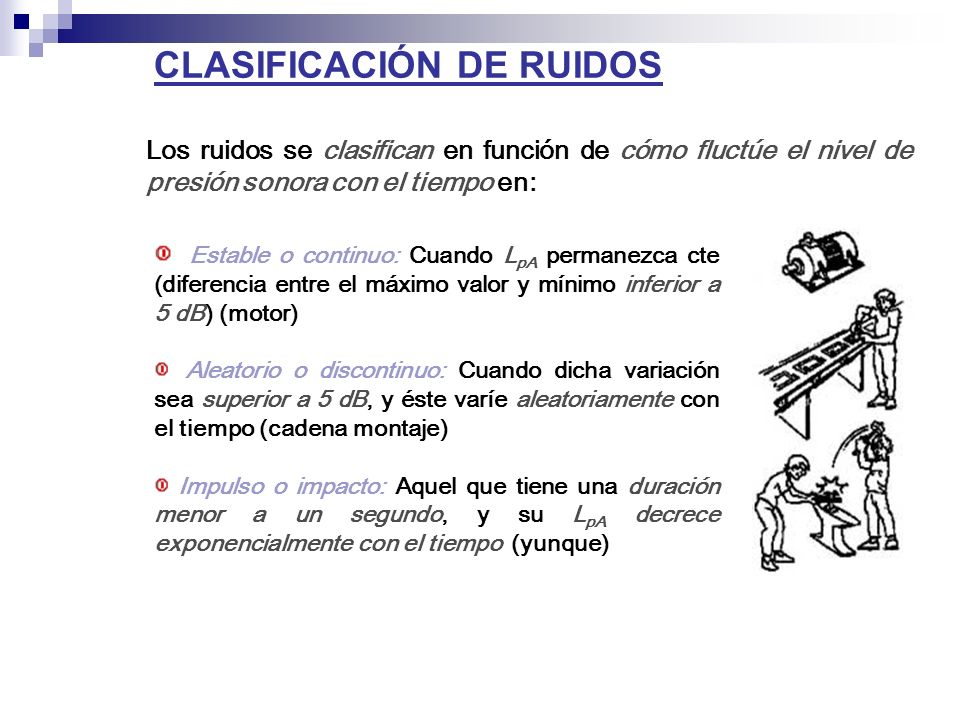 CLASIFICACIÓN DE RUIDOS