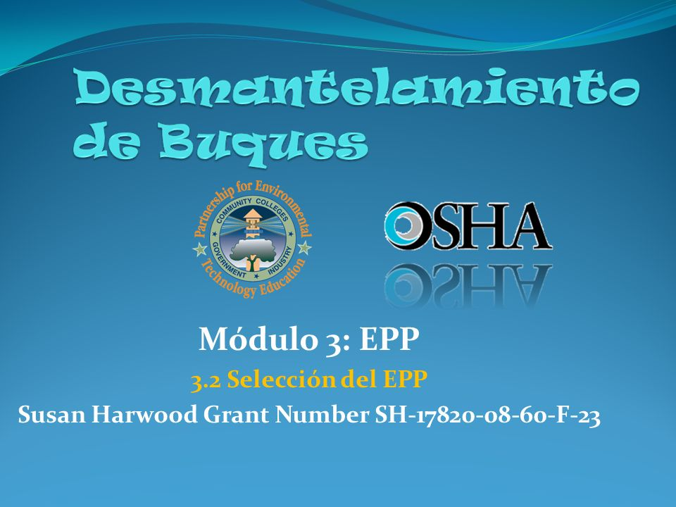 Susan Harwood Grant Number SH-17820-08-60-F-23