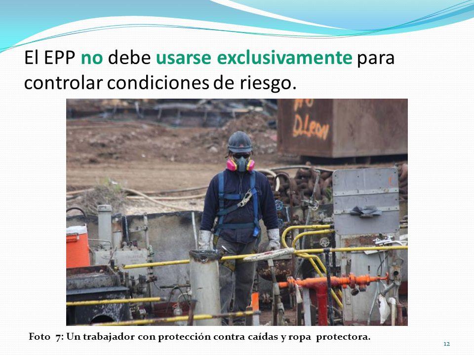 El EPP no debe usarse exclusivamente para controlar condiciones de riesgo.