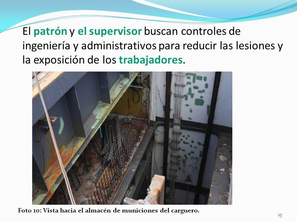 El patrón y el supervisor buscan controles de ingeniería y administrativos para reducir las lesiones y la exposición de los trabajadores.